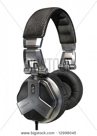 DJ's headphones isolated on white. My own design made for the image. Logo is a fake.