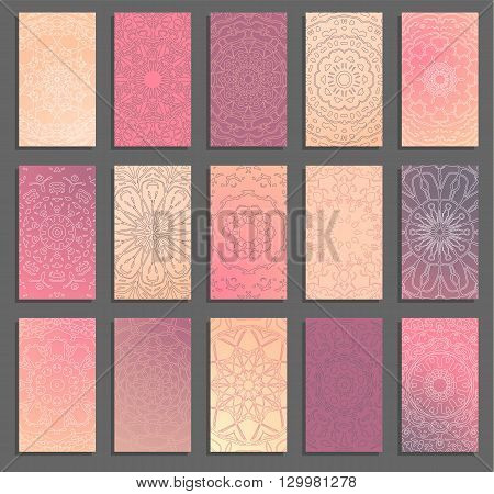 Set of ethnic business card templates. Vector freehand mandala pattern on multicolored background. Mystical vintage bisiness card design