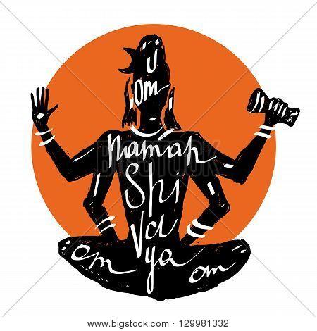 Lord Shiva Meditation in lotus pose. Yoga, Hand drawn Typography poster.