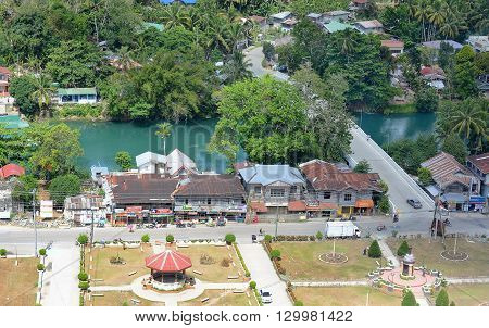 BOHOL PHILIPPINES - APRIL 5 2016: Aerial view of town on Bohol Island. Bohol is a province of the Philippines in the country's Central Visayas region.