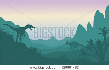 Silhouette of eoraptor and parasaurolophus in fields