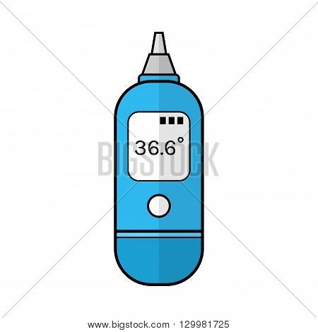 Ear thermometer for measuring temperature of human body. Flat color icon. Baby products. Medical device. Vector illustration