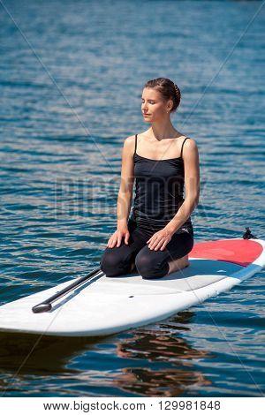 Sup Young Beautiful Girl Yoga Meditation03