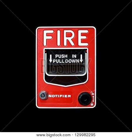 Fire alarm switch isolate on black background