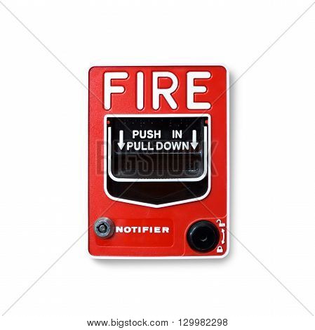 Fire alarm switch isolate on white background
