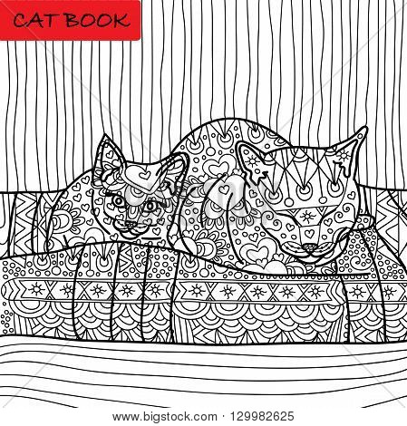 Coloring cat page for adults. Mama cat and her baby kitten sitting on sofa. Hand drawn illustration with patterns. Zenart