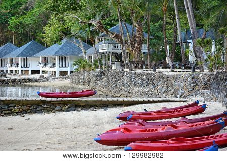 EL NIDO LAGEN ISLAND PHILIPPINES - APRIL 5 2016: Kayaks at the Lagen Island Resort. The luxury Eco-Sanctuary resort in in Bacuit Bay.