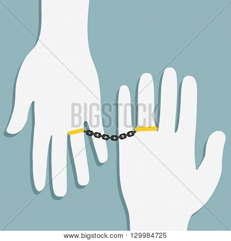 Ring and hand , relationship concept , white hand with golden ring and chain