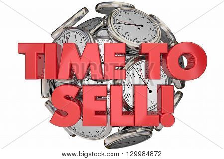 Time to Sell Clocks Sales Make Money Words 3d Animation