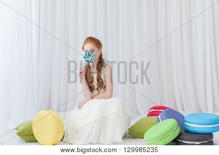 Funny Child With Candy Lollipop