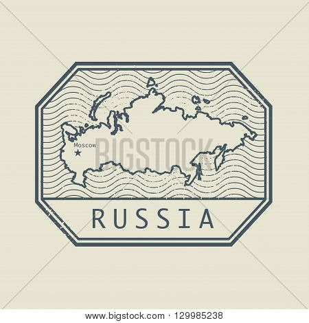 Stamp with the name and map of Russia, vector illustration