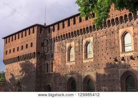The Outer Wall of Castello Sforzesco (Sforza Castle) in Milan Italy