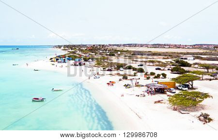 Aerial from Aruba at Fisherman's Huts in the Caribbean