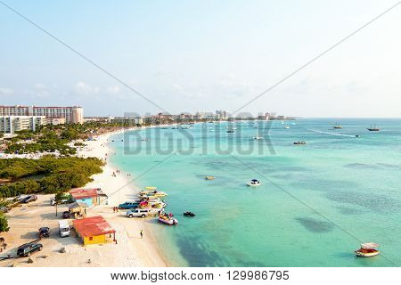 Aerial from Palm beach at Aruba in the Caribbean Sea