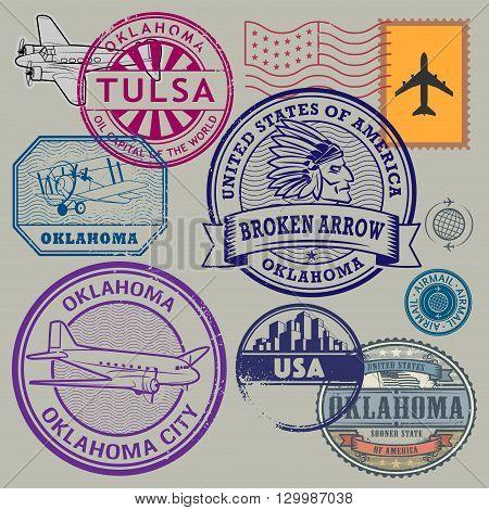 Retro postage USA stamps set, vector illustration