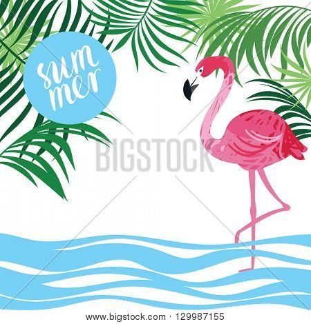 tropical background, pink flamingo and palm leaves