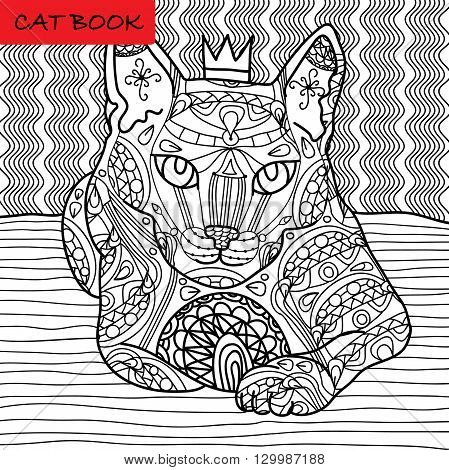 Coloring cat page for adults. Majestic cat with the crown looks pensive. Hand drawn illustration with patterns. Zenart