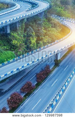 aerial view of chongqing flyover on a sunny day,china