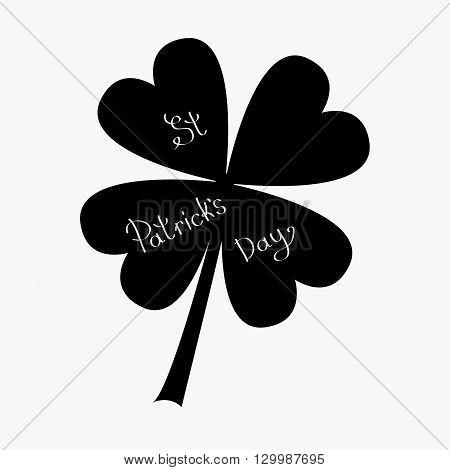 Clover leaf. Four petal green clover. Flat design. Isolated. Black on white background St Patricks day Vector illustration