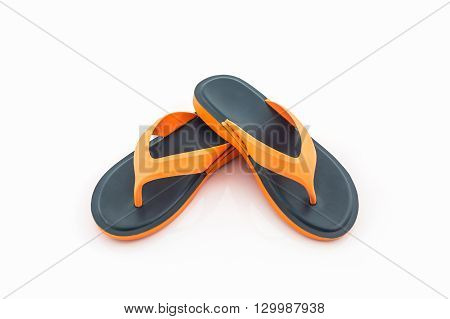 Colorful of Sandals shoes / Flip flops on white background.