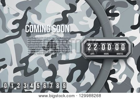 Creative Military City Camouflage Background Coming Soon and countdown timer with digit samples. Vector Illustration.