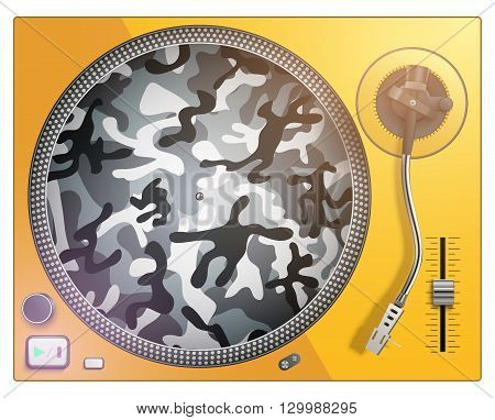 Modern turntable in acid color and camouflage. For advertising and posters. Vector isolated on white background