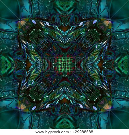 green motley abstract ornament on blur-green background