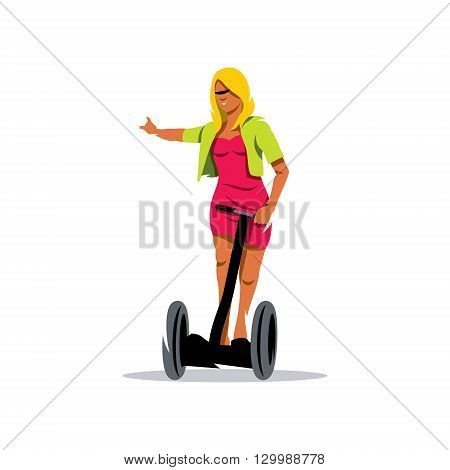 A woman shows a hand that will rotate to the right. It stands on a mobile platform holding the handlebars
