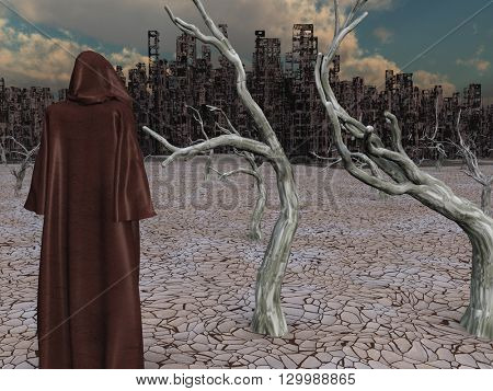 Robed Figure Before Destroyed City 3D Render