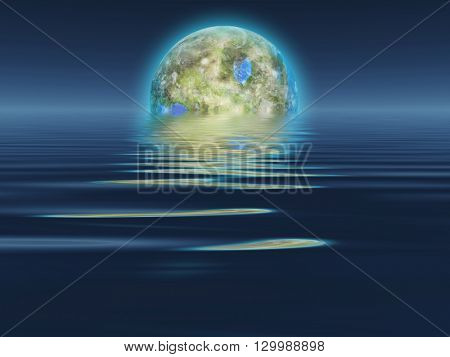 Terraformed Luna rises over water 3D Render