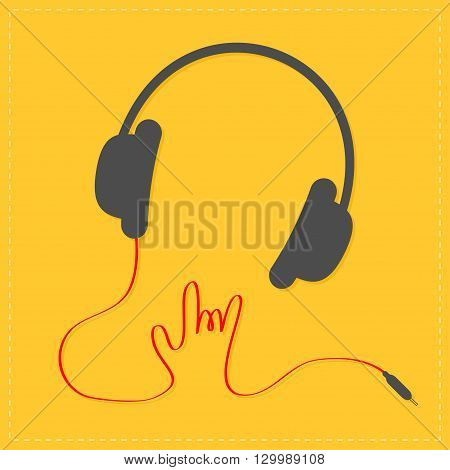 Black headphones with red cord in shape of hand. Rock and roll sign. Music card Icon Flat design style. Yellow background. Vector illustration