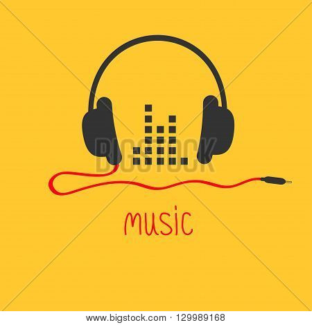 Headphones with cord and equalizer word Music card.Flat design icon Yellow background Vector illustration