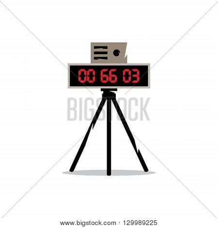 Digital clock with red seconds on a tripod. Isolated on a white background
