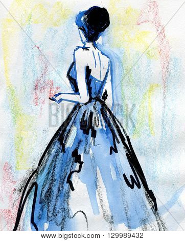 watercolor sketch silhouette fashionable woman. fashion background