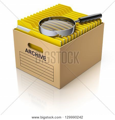 Storage box with magnifying glass and yellow folders - 3D illustration