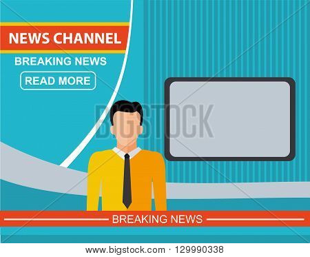 Anchorman on tv news announcer in the studio. Flat vector illustration