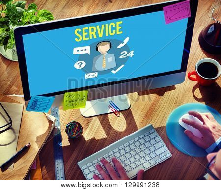 Service Support Helping Hands Service Industry Concept
