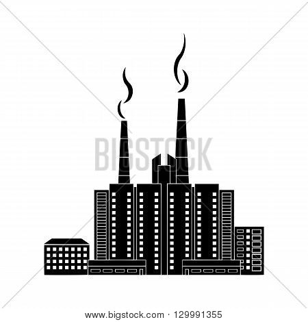 A quarter of the city at night silhouettes of houses black on a white background. Vector image.