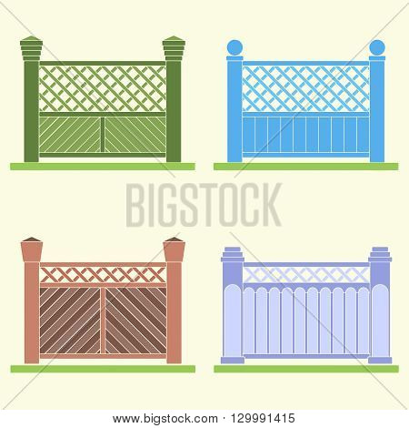 Four versions of a fence of planks painted in different colors. Vector image.
