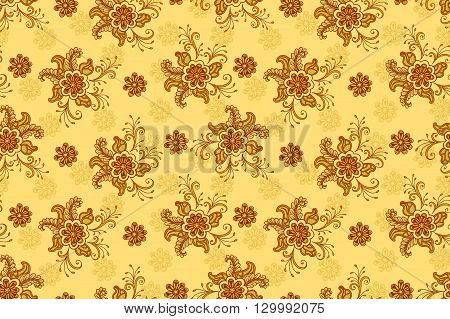 Floral Pattern, Seamless Background, Tile Ornament, Symbolic Flowers and Leafs. Vector