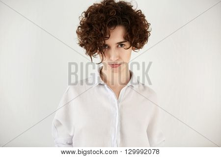 Body Language. Headshot Of Student Girl Looking At The Camera With Displeased Expression After Faili