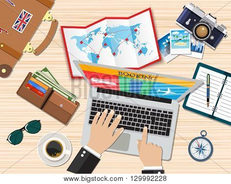 Travel planning. Man with laptop planning vacation, booking tickets. Desk with elements of travel. Banner travel. Flat design vector illustration.  travel and vacations concept