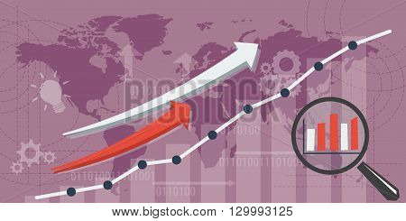 Vector business background. Concept improvement and growth. Magnifier with growth schedule, up arrows and abstract lines and transparent elements. Flat style. Web infographic