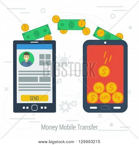 Vector concept mobile money transfering. Two smartphones with money transfer on white line background. Flat style. Web infographics