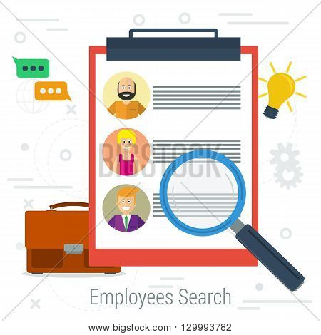 Vector flat concept employee search. List candidates to work with photos and skills description. Zoom magnifying glass picking business person with list of requirements.  Web infographics