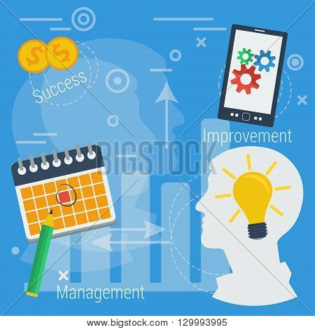 Vector Concept Business successful management, improvement, time topay, date, business idea, value proposition. Silhouette of man face with lamp, calendar with markered day app on smartphone