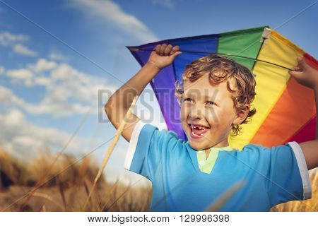 Little Boy Playing Kite Fun Happiness Enjoyment Outdoors Concept
