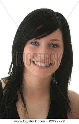 Young woman with big smile portrait isolated on white background