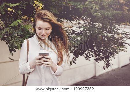 Browsing Social Media Walking Online Relax Concept