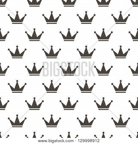 Vector black and white crowns seamless pattern background.